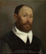 Portrait of a Man with Raised Eyebrows painting reproduction, Giovanni Battista Moroni