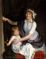 Portrait of a Mother and Child painting reproduction, French Painter