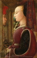 Portrait of a Woman with a Man at a Casement painting reproduction, Filippino Lippi