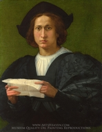 Portrait of a Young Man Holding a Letter painting reproduction, Rosso Fiorentino