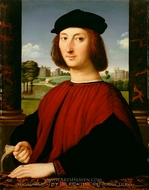 Portrait of a Young Man in Red painting reproduction, Raphael Sanzio