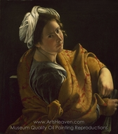 Portrait of a Young Woman as a Sibyl painting reproduction, Orazio Gentileschi