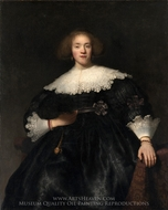 Portrait of a Young Woman with a Fan painting reproduction, Rembrandt Van Rijn