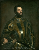 Portrait of Alfonso d'Avalos, Marchese del Vasto, in Armor with a Page painting reproduction, Titian
