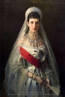 Portrait of Empress Mariya Fedorovna painting reproduction, Ivan Kramskoy
