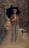 Portrait of J. F. Jaxquesmart With A Parasol painting reproduction, Claude Monet