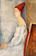 Portrait of Jeanne Hebuterne in Profile painting reproduction, Amedeo Modigliani