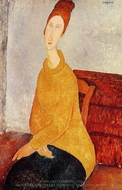 Portrait of Jeanne Hebuterne in Yellow Sweater painting reproduction, Amedeo Modigliani