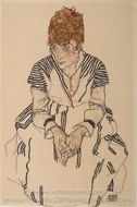 Portrait of the Artist's Sister-in-law, Adele Harms painting reproduction, Egon Schiele