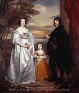Portrait of the Earl and Countess of Derby and Their Daughter painting reproduction, Sir Anthony Van Dyck