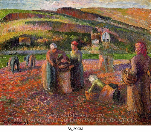 Camille Pissarro, Potato Harvest oil painting reproduction