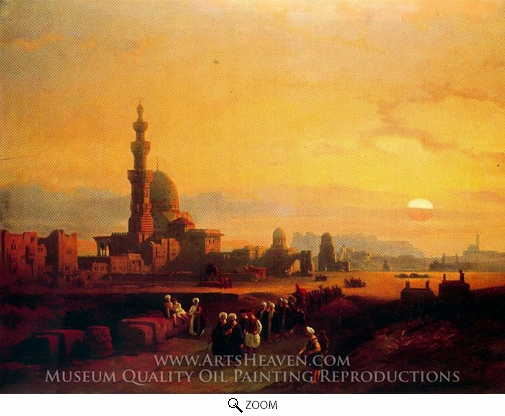 David Roberts, Procession Past the Tombs of the Khalifs oil painting reproduction