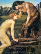 Psyche and Pan painting reproduction, Edward Burne-Jones