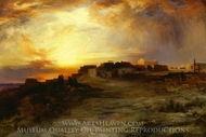 Pueblo at Sunset (Laguna) painting reproduction, Thomas Moran