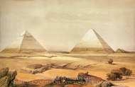 Pyramids of Geezeh painting reproduction, David Roberts