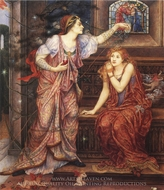 Queen Eleanor and Fair Rosamund painting reproduction, Evelyn De Morgan