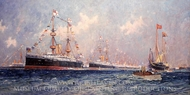 Queen Victoria's Diamond Jubilee Review at Spithead, 26 June 1897 painting reproduction, Charles Dixon