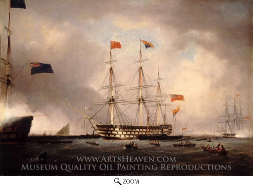 Robert Strickland Thomas, Queen Victoria's Visit to HMS Queen at Portsmouth, 1 March 1842 oil painting reproduction