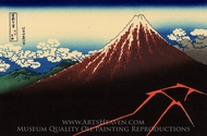 Rainstorm Beneath the Summit painting reproduction, Katsushika Hokusai