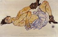 Reclining Female Nude painting reproduction, Egon Schiele