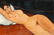 Reclining Nude on White Pillow painting reproduction, Amedeo Modigliani