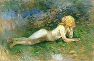 Reclining Nude Shepherdess painting reproduction, Berthe Morisot
