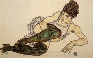 Reclining Woman with Green Stockings painting reproduction, Egon Schiele