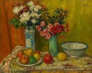Red Flowers and Fruit painting reproduction, Georges D'Espagnat