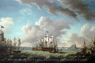 Relief of Gibraltar by Earl Howe, 11 October 1782 painting reproduction, Richard Paton