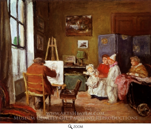 Albert Andre, Renoir Painting his Family in his Studio at 73 rue de Caulaincourt, Paris oil painting reproduction