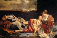 Rest on the Flight into Egypt painting reproduction, Orazio Gentileschi