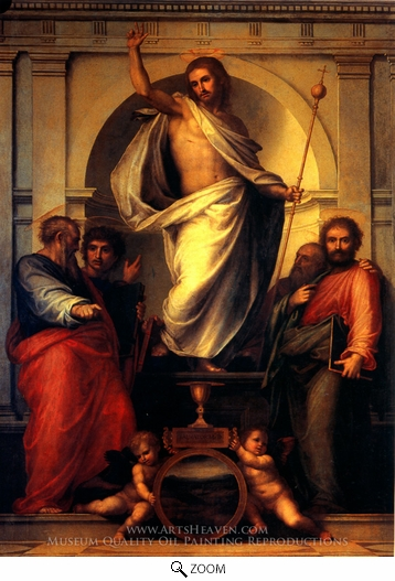 Fra Bartolommeo, Resurrected Christ with Saints oil painting reproduction