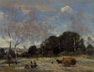 Return of the Hayers to Marcoussis painting reproduction, Jean-Baptiste Camille Corot