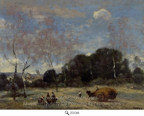 Jean-Baptiste Camille Corot, Return of the Hayers to Marcoussis oil painting reproduction