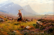 Returning From the Fields painting reproduction, Hans Dahl