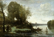 River with a Distant Tower painting reproduction, Jean-Baptiste Camille Corot