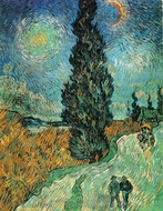 Road with Cypress and Star painting reproduction, Vincent Van Gogh