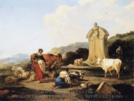 Roman Fountain with Cattle and Figures painting reproduction, Nicolaes Berchem