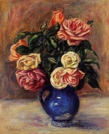 Roses in a Blue Vase painting reproduction, Pierre-Auguste Renoir