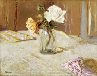 Roses in a Glass Vase painting reproduction, Édouard Vuillard