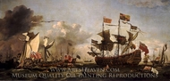 Royal Visit to the Fleet in the Thames Estuary, 6 June 1672 painting reproduction, Willem Van De Velde
