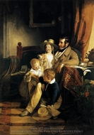 Rudolf Von Arthaber with his Children painting reproduction, Friedrich Von Amerling