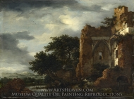Ruins in a Dune Landscape painting reproduction, Jacob Van Ruisdael