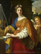 Saint Cecilia painting reproduction, Pietro Da Cortona