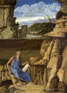 Saint Jerome Reading in a Landscape painting reproduction, Giovanni Bellini