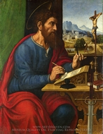 Saint Paul Writing painting reproduction, Pier Francesco Sacchi