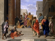 Saints Peter and John Healing the Lame Man painting reproduction, Nicolas Poussin