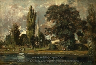 Salisbury Cathedral and Leadenhall from the River Avon painting reproduction, John Constable