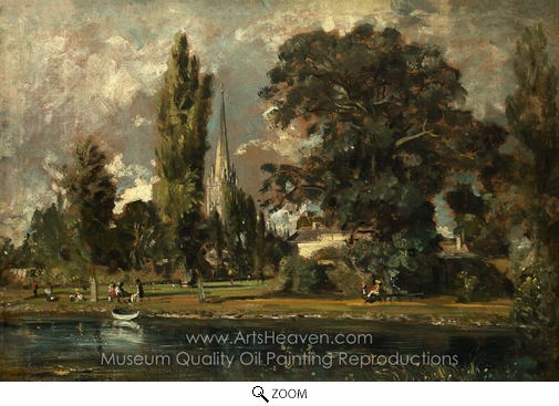 John Constable, Salisbury Cathedral and Leadenhall from the River Avon oil painting reproduction