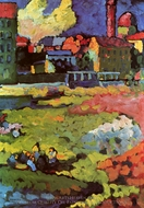Schwabing with St. Ursula Church painting reproduction, Wassily Kandinsky